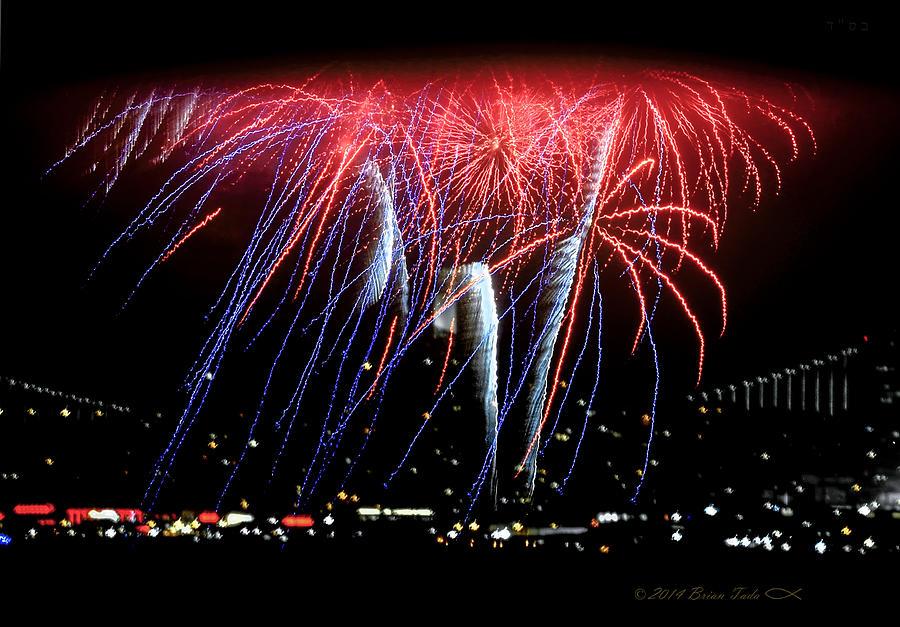Patriotic Fireworks S F Bay Photograph