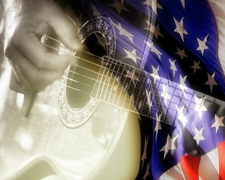 Patriotic Guitar by Carolyn Marshall