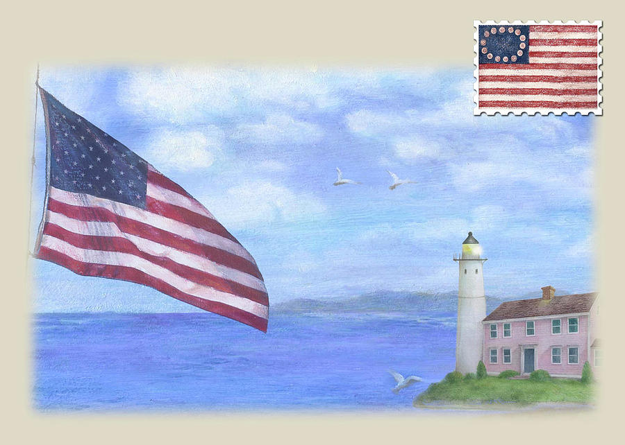 Patriotic Illustrated Lighthouse by Judith Cheng