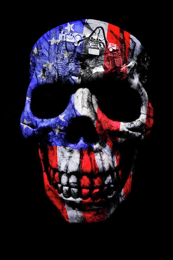 Jeep Photograph - Patriotic Jeeper Skull Tj Wrangler by Luke Moore
