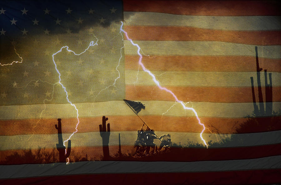 Lightning Photograph - Patriotic Operation Desert Storm by James BO  Insogna