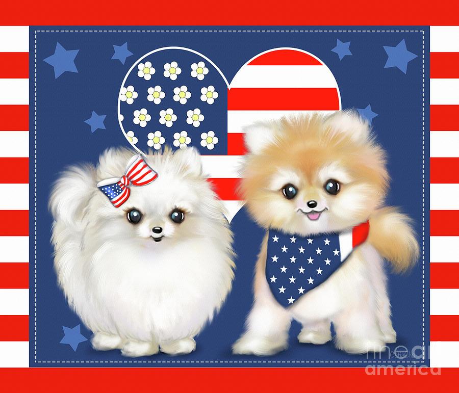 Patriotic Pomeranians by Catia Lee