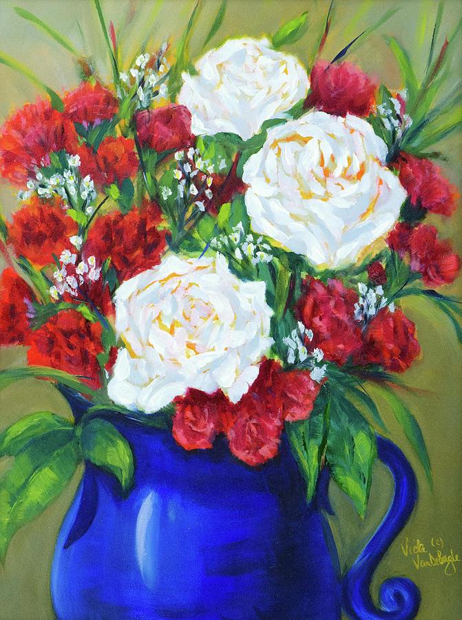 Rose Painting - Patriotic Posies by Vicki VanDeBerghe