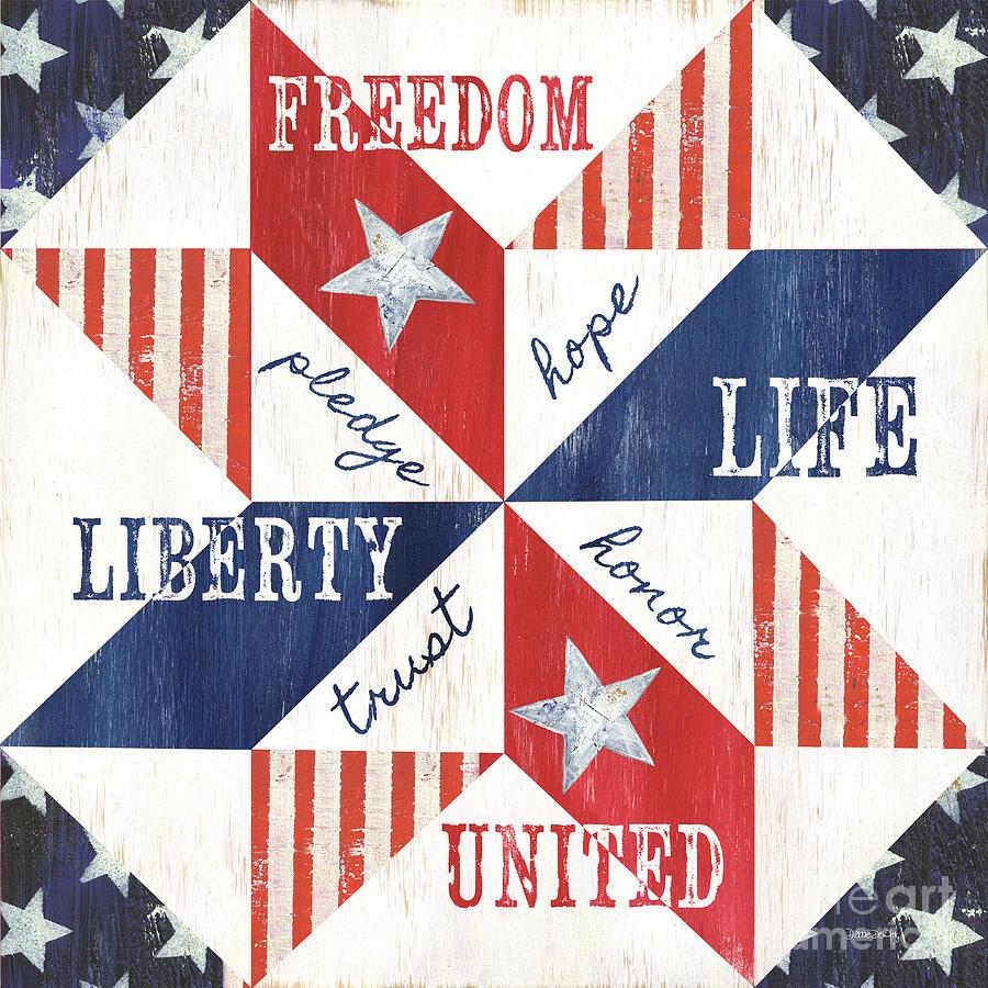 Patriotic Painting - Patriotic Quilt 1 by Debbie DeWitt