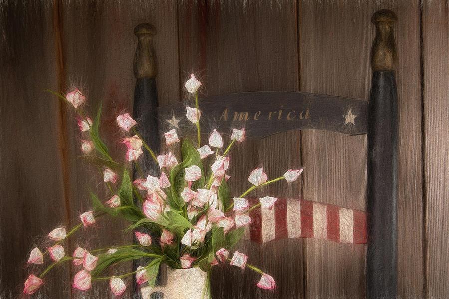 America Photograph - Patriotic Seating by Tom Mc Nemar