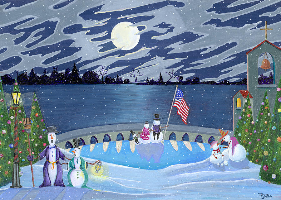 Snowman Painting - Patriotic Snowmen by Thomas Griffin