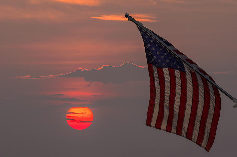 American Flag With Sunset Photograph - Patriotic Sunset by Mark Papke