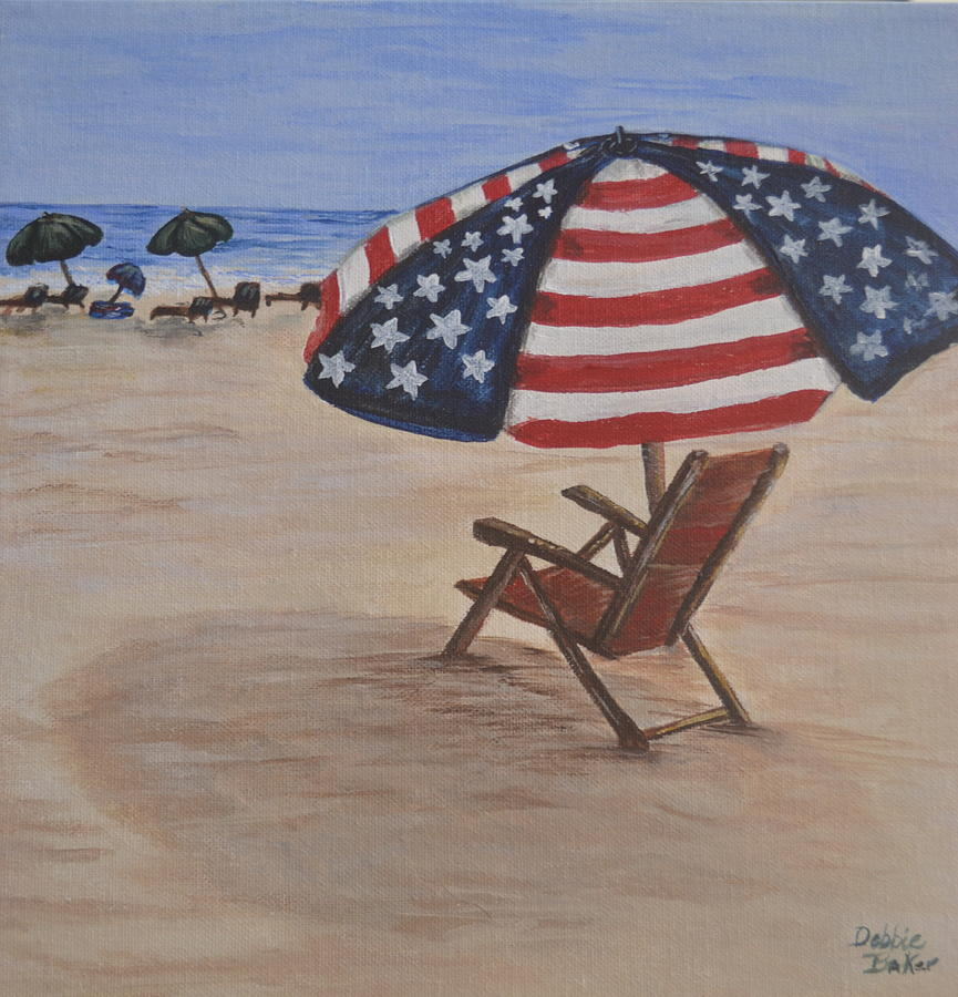 Beach Painting - Patriotic Umbrella by Debbie Baker