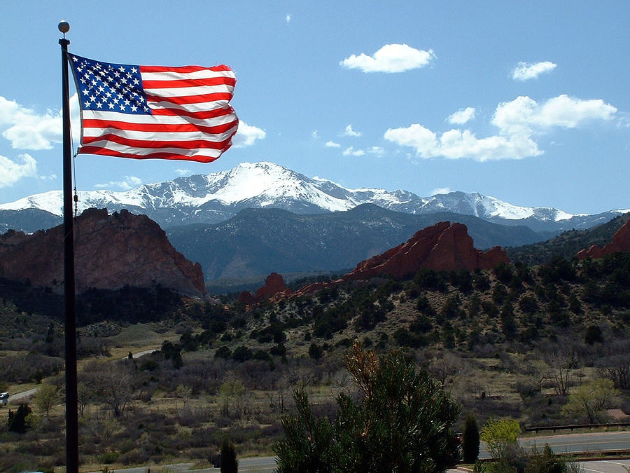 Flag Photograph - Patriotism At Pikes Peak by Diane Wallace