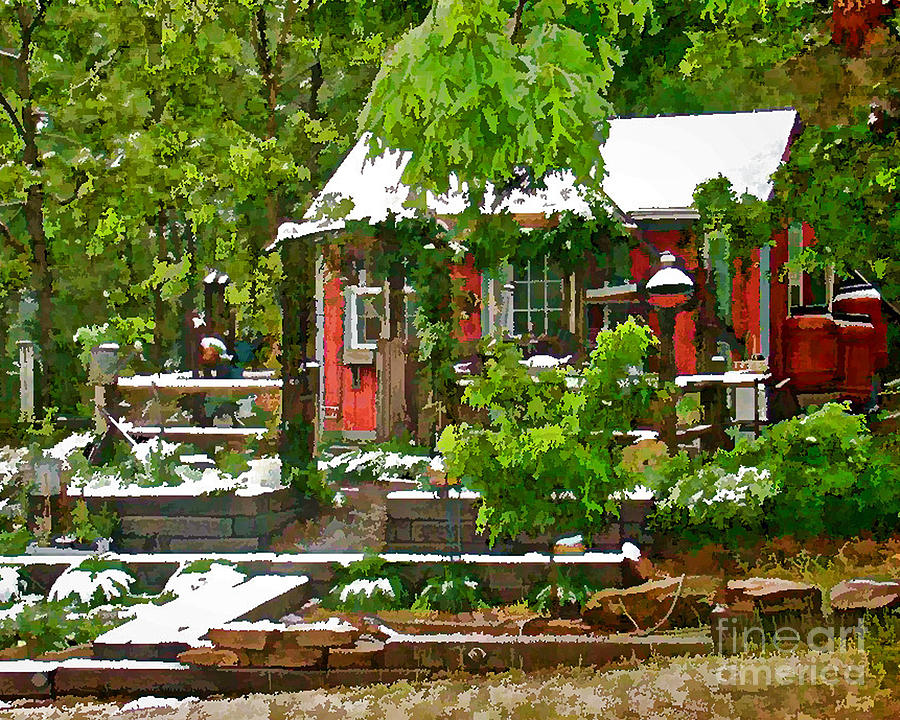 Red Cabin Digital Art - Pats Place by Robin  Waters