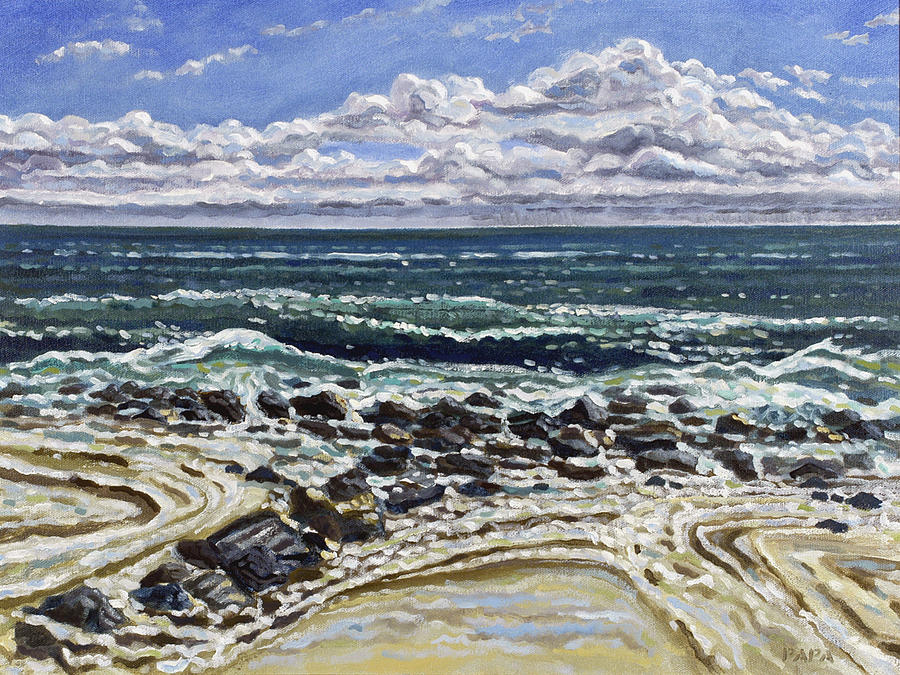 Ocean Painting - Patterns in the Sand by Ralph Papa