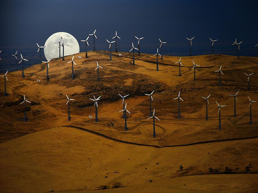 Landscape Photograph - Patterson Pass Wind Farm by Karen  W Meyer