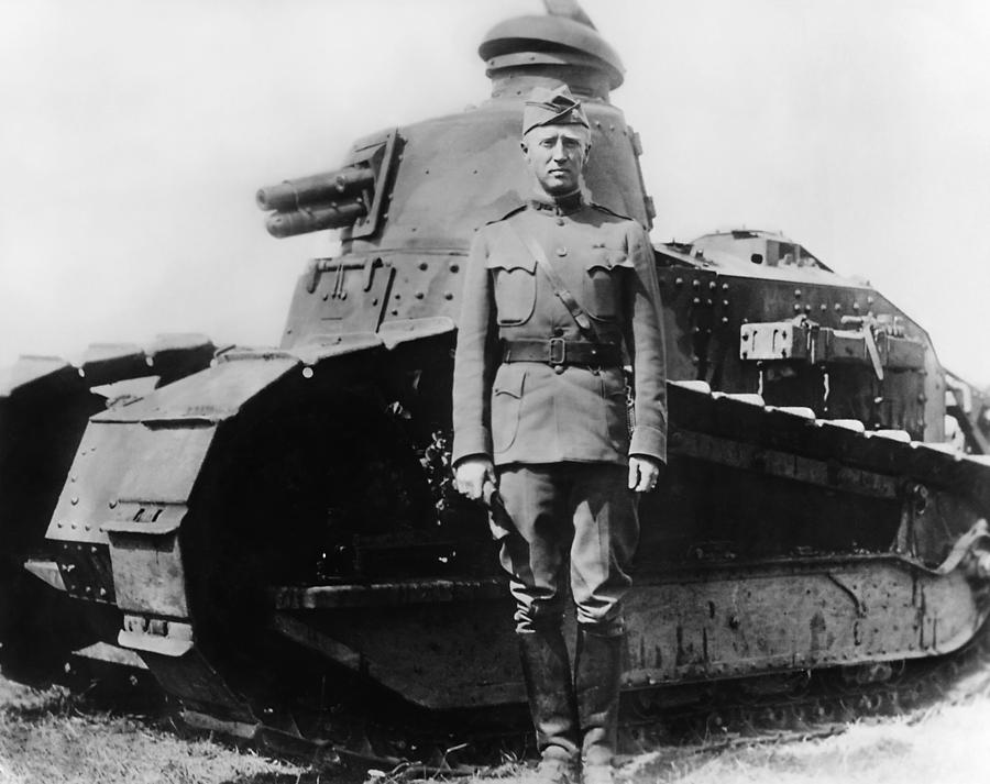George Patton Photograph - Patton Beside a Renault Tank - WWI by War Is Hell Store