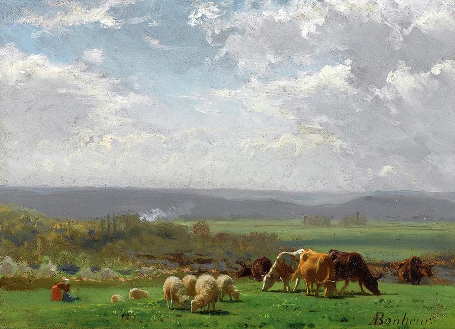 Famous Paintings Painting - Paturage En Auvergne by Auguste Bonheur