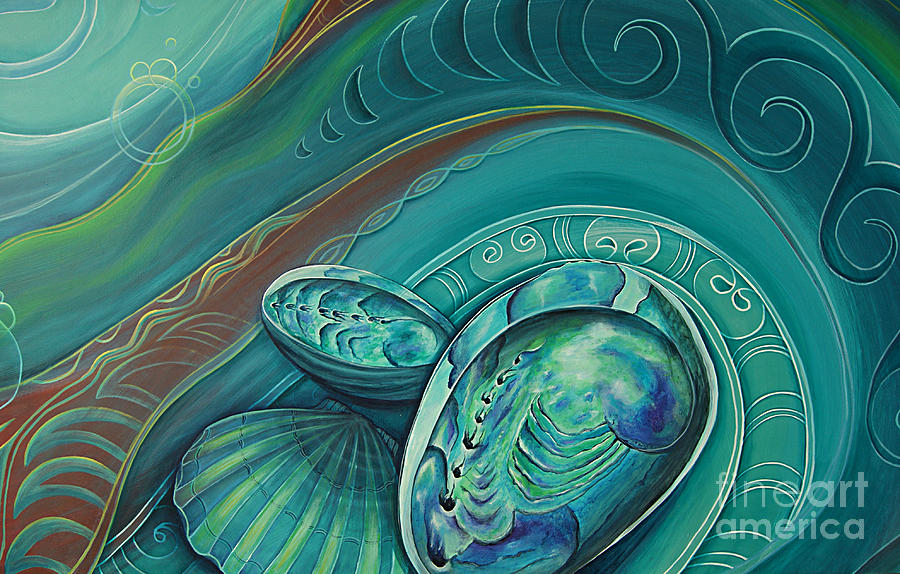 Abalone Painting - Paua Seabed By Reina Cottier by Reina Cottier