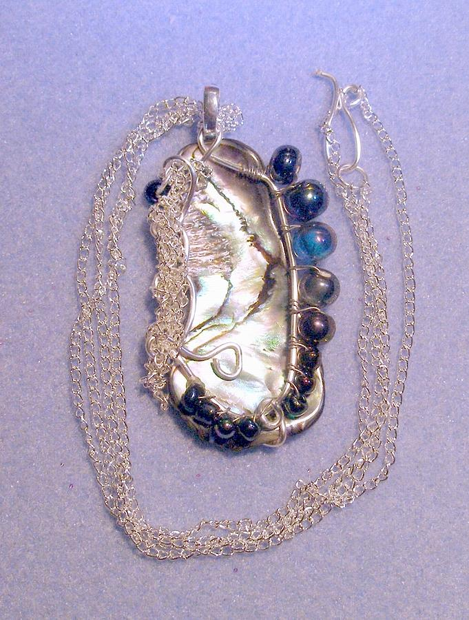 Paua Shell And Silver Chains Jewelry by Eryka Garbutt