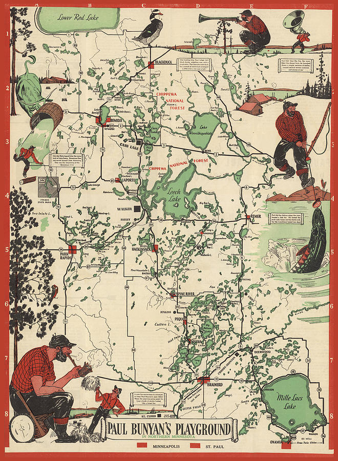 Northern Minnesota Mixed Media - Paul Bunyans Playground - Northern Minnesota - Vintage Illustrated Map - Cartography by Studio Grafiikka