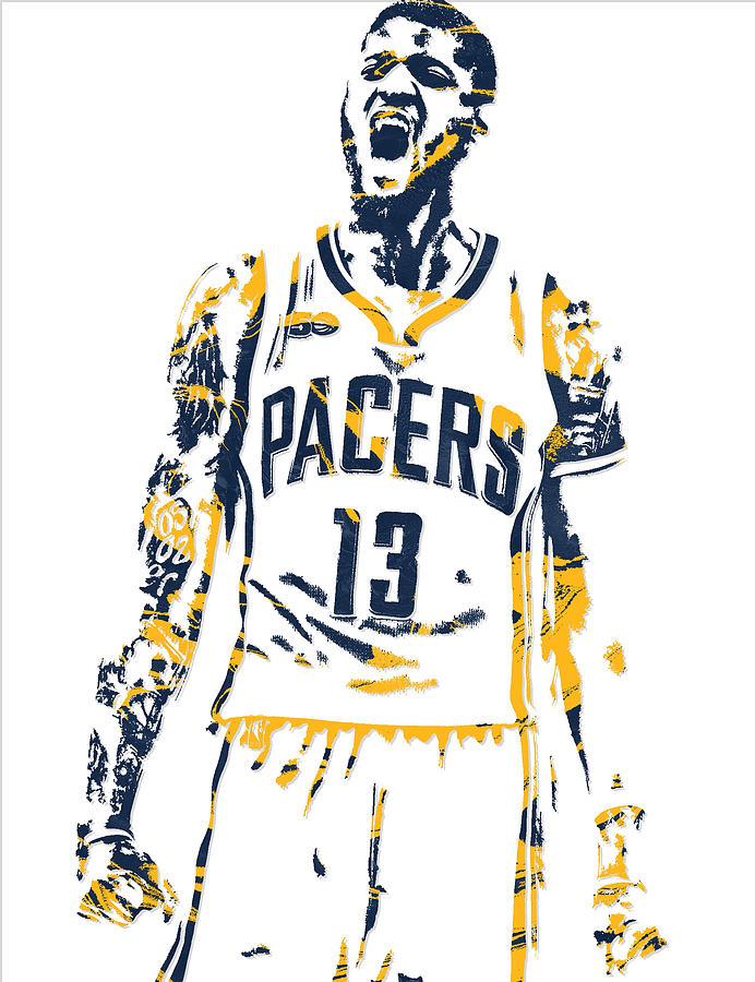 9e1e93dba Paul George Indiana Pacers Pixel Art 6 Mixed Media by Joe Hamilton