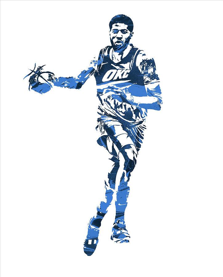 87306c0ce Paul George Mixed Media - Paul George Oklahoma City Thunder Pixel Art 30 by  Joe Hamilton