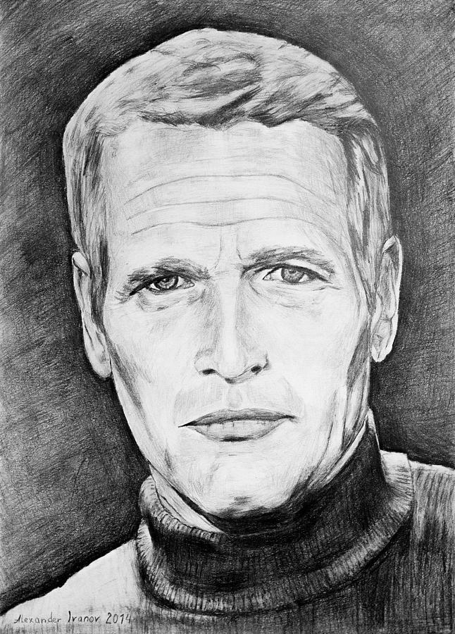 Paul Newman Drawing - Paul Newman by Alexander Ivanov