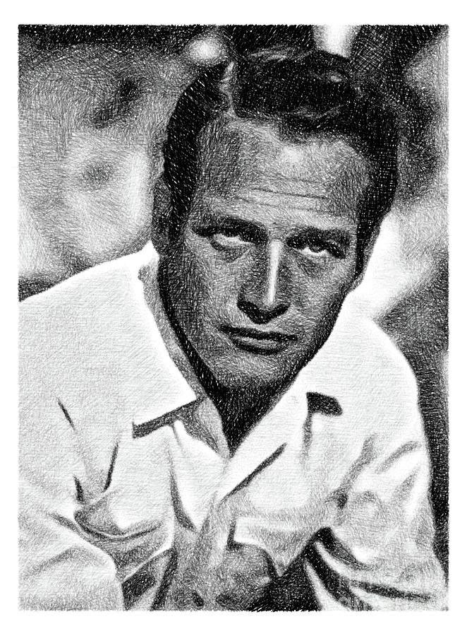 Paul Newman, Hollywood Legend By Js Drawing