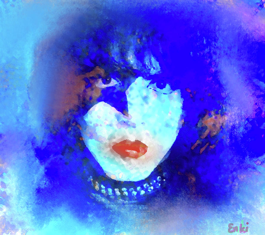 Kiss Painting - Paul Stanley of Kiss - portrait by Enki Art