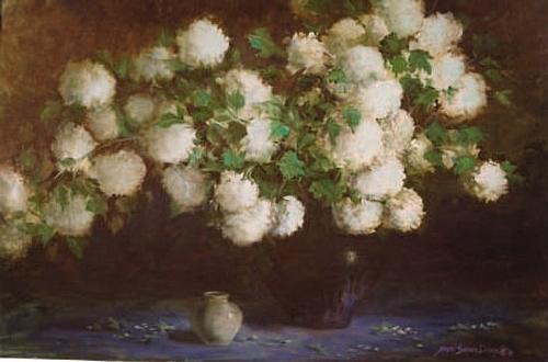 Floral Painting - Paulas Snowballs by Naomi Dixon