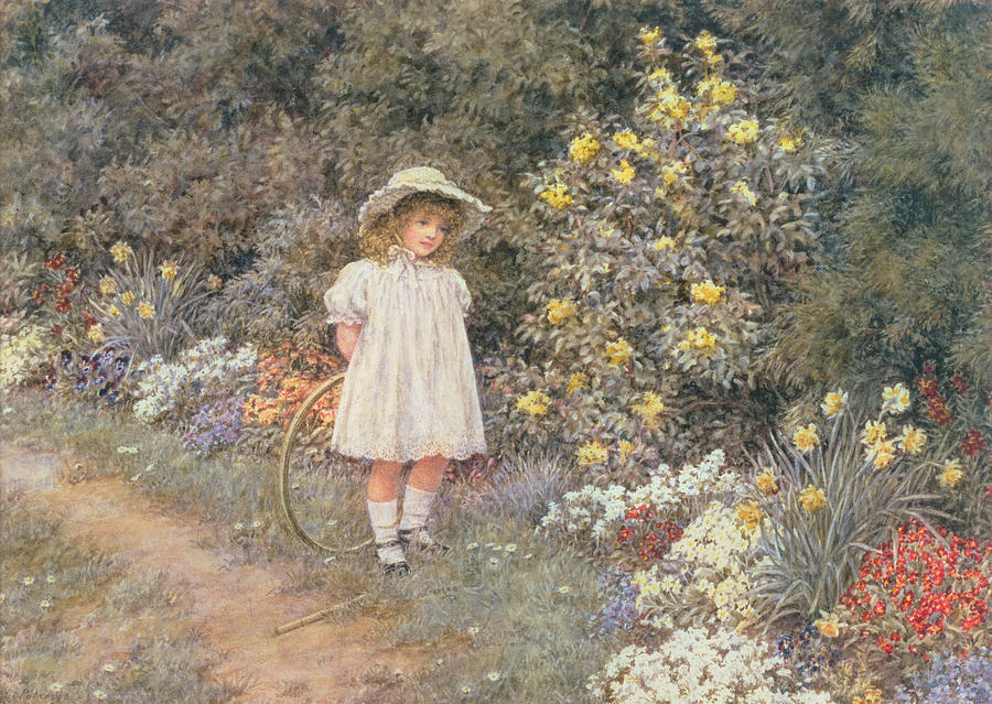 Hoop; Cerceau; Child; Little Girl; Garden; Flowers Painting - Pause For Reflection by Helen Allingham