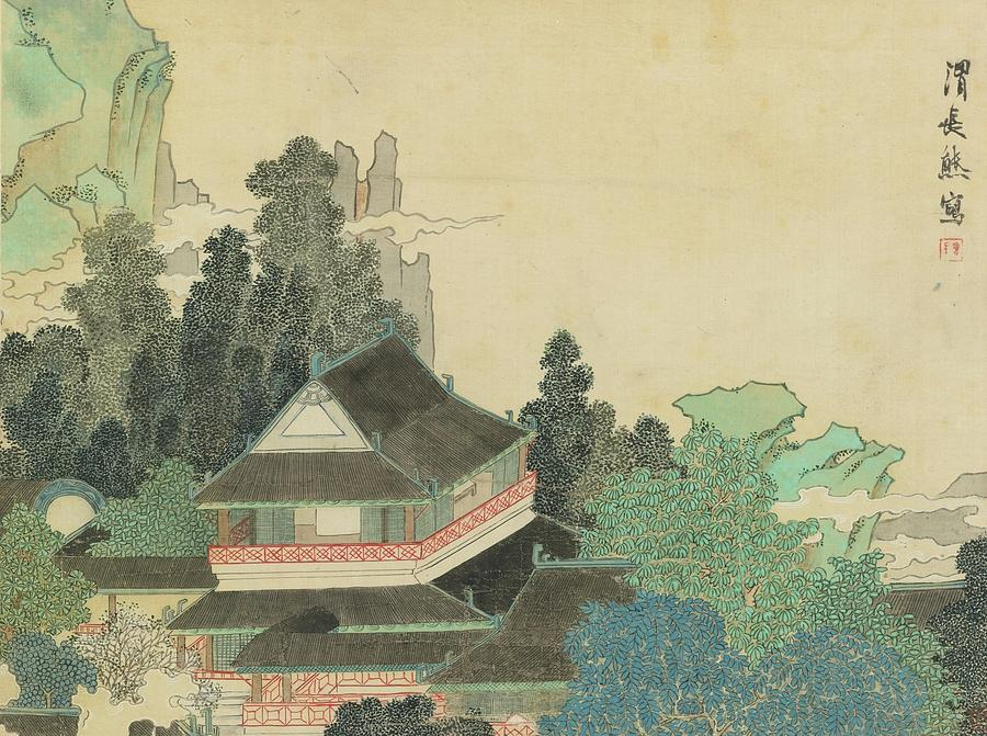Village Painting - Pavilion In Enchanted Mountains by Ren Xiong