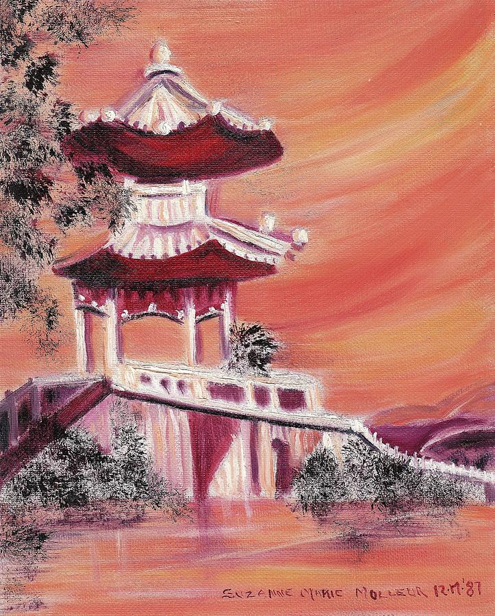 China Painting - Pavillion In China by Suzanne  Marie Leclair