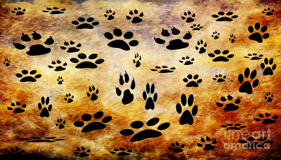 Paw Prints Digital Art - Paw Prints by Andee Design