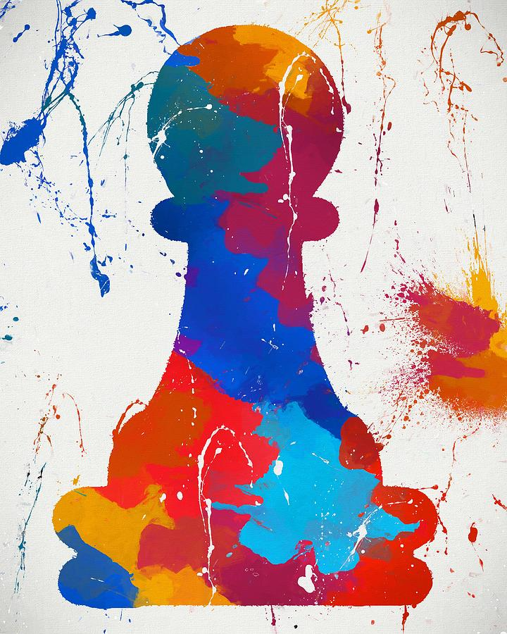 Pawns Painting - Pawn Chess Piece Paint Splatter by Dan Sproul