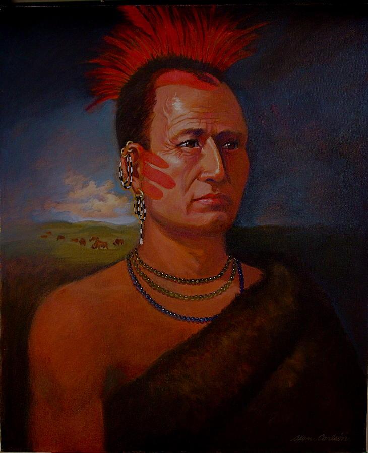 Pawnee Chief Around 1820 Painting by Alan Carlson