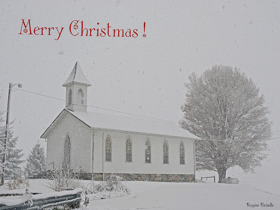 Indiana Photograph - Pawpaw Church Christmas by Regine Brindle