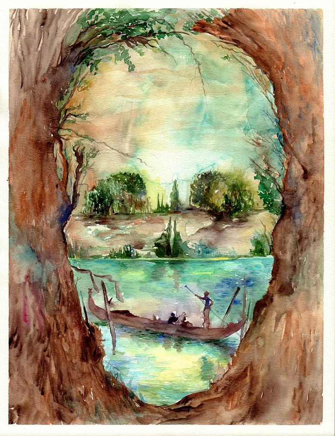 Skull Painting - Paysage With A Boat by Suzann Sines