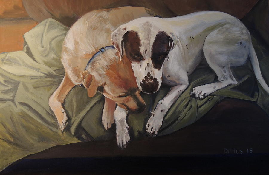 Dogs Painting - Peace And Comfort by Chrissey Dittus