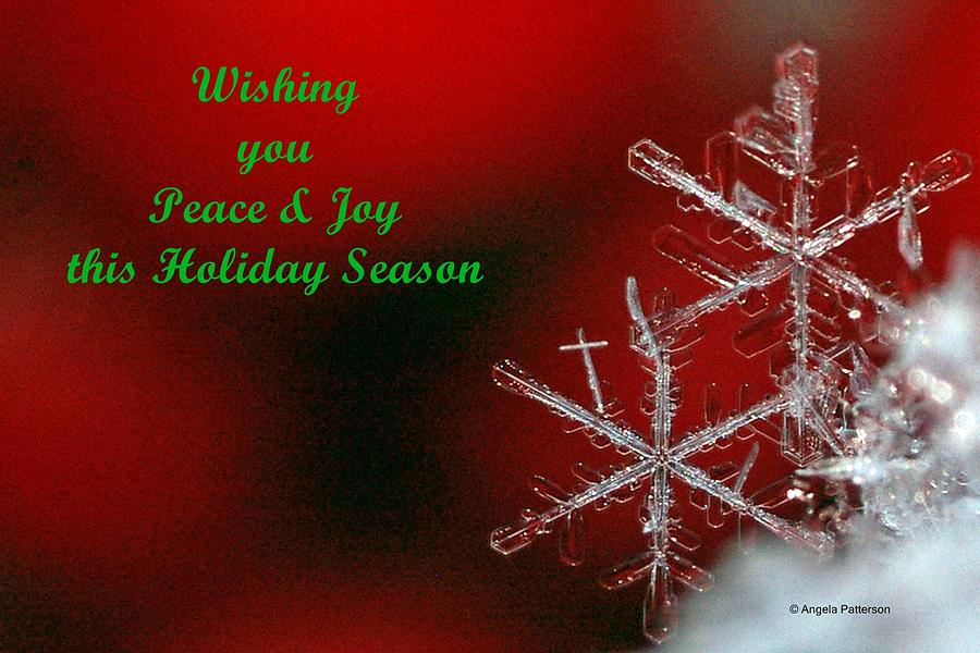 Christmas Card Photograph - Peace And Joy Christmas Card Two by Angela Patterson