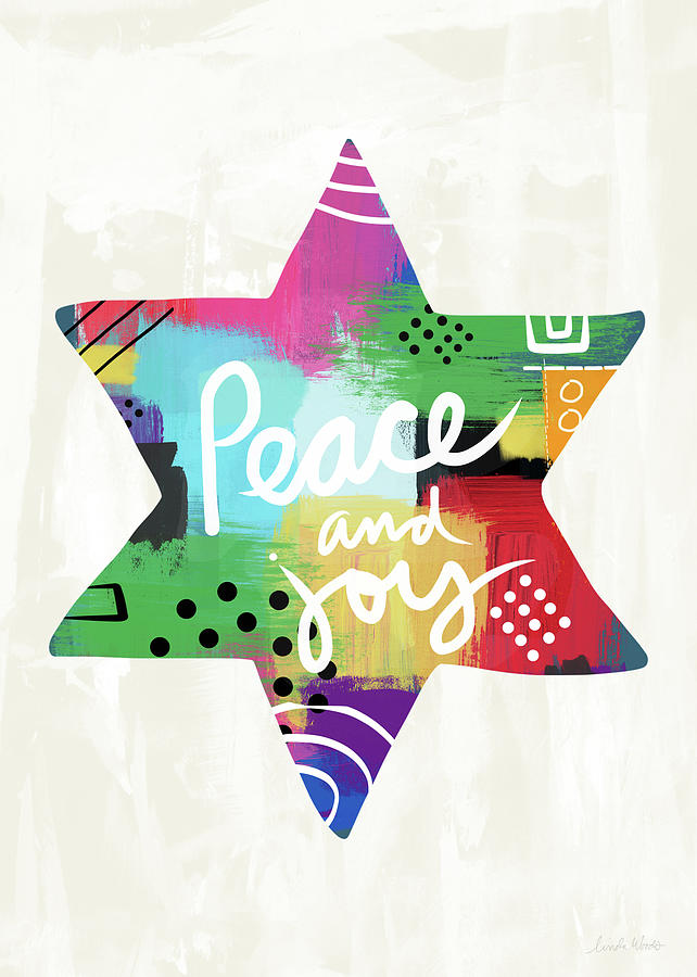 Holiday Painting - Peace And Joy Star-art By Linda Woods by Linda Woods