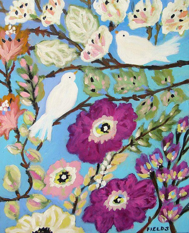 Birds Painting - Peace And Love by Karen Fields
