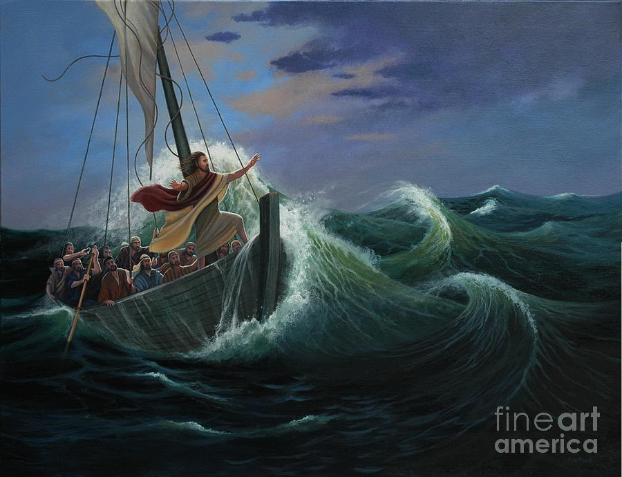 Bible Painting - Peace Be Still by Michael Nowak