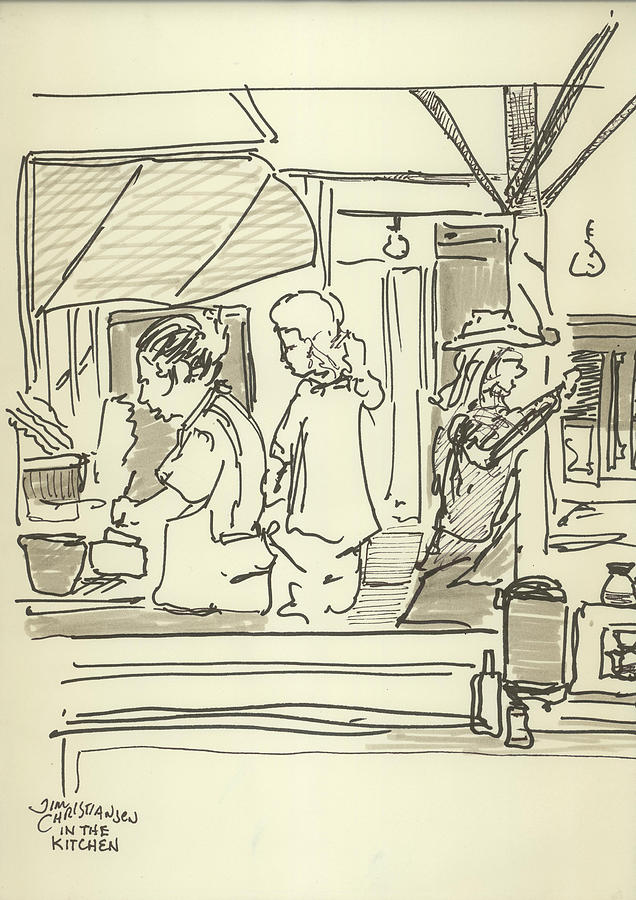 Black And White Drawing - Peace Camp Saturday Kitchen Crew by James Christiansen
