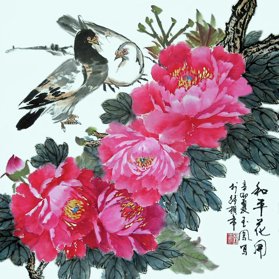 Peonies Photograph - Peace Flowers by Yufeng Wang