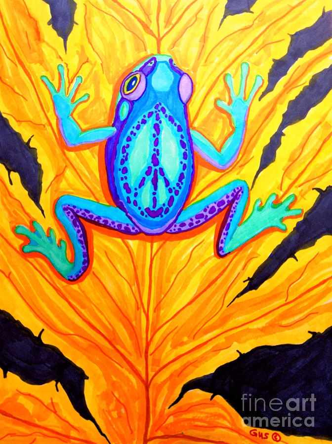 Frog Drawing - Peace Frog On Fall Leaf by Nick Gustafson