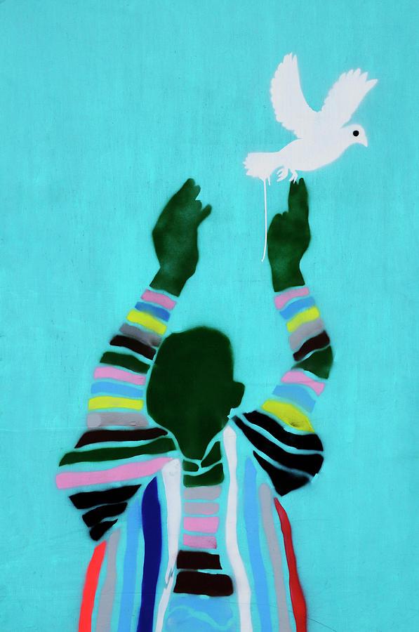 Street Photograph - Peace Graffiti by Liz Pinchen