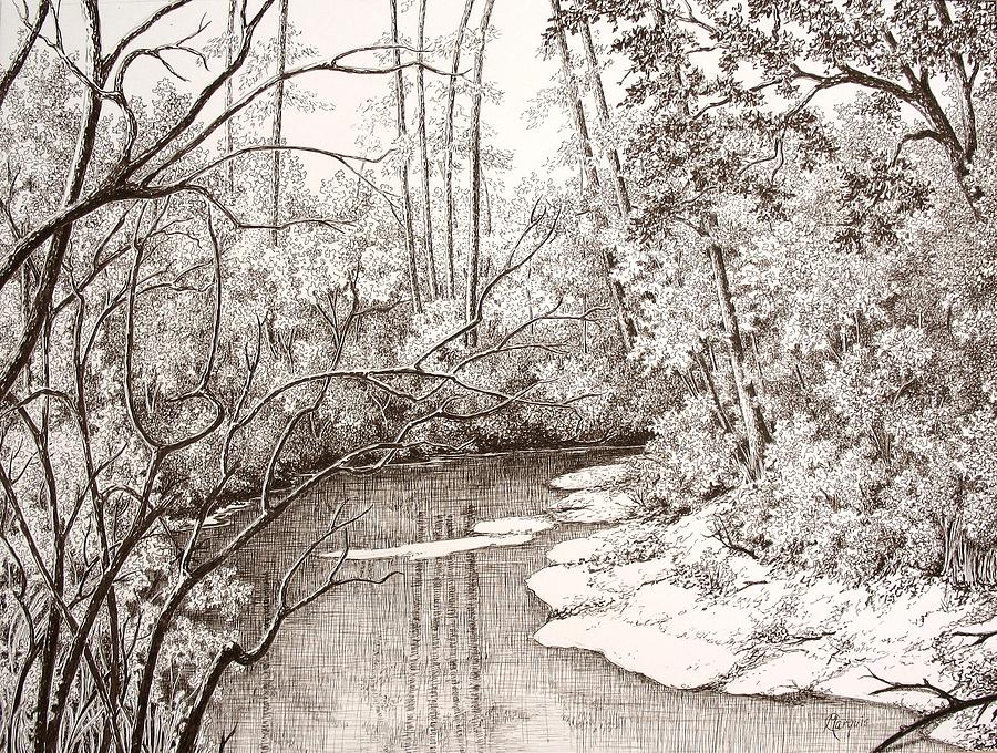 Landscape Drawing - Peace Grove I by Colleen Marquis