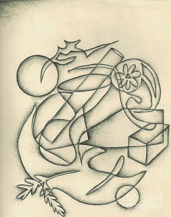 This Is A Drawing Of Objects That Interfere With Others. Copyright 1992 Drawing - Peace In The Midst Of Chaos by Jamey Balester