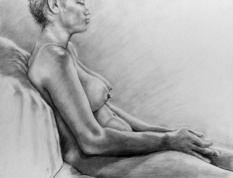 Woman Drawing - Peace by John Clum