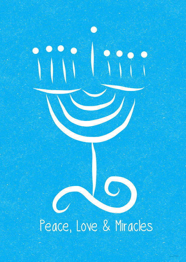 Peace Love And Miracles With Menorah Painting