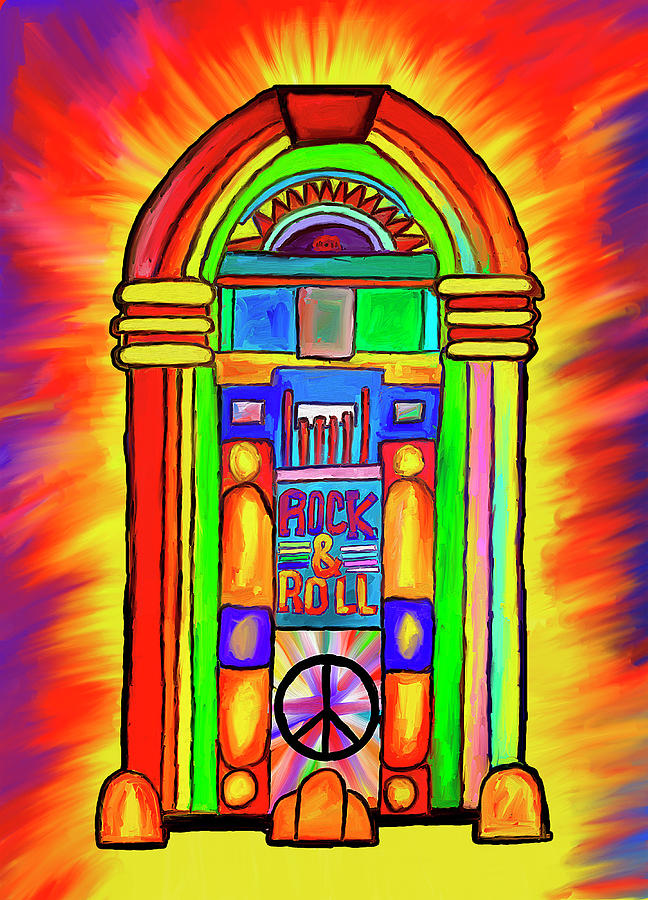 a97661245 Peace Love Rock N Roll Digital Art by Barry Moore