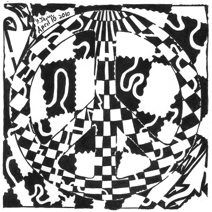Peace Drawing - Peace Maze by Yonatan Frimer Maze Artist